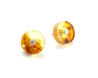 clear brandy amber earrings with fleck