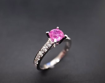 Pink Sapphire Engagement Ring 14K White Gold, Pink Sapphire Ring, Sapphire Band, Diamond Ring, Pink Sapphire Ring, Diamond Engagement Ring