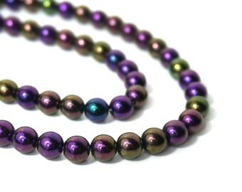 Czech Glass Beads, Iris Purple Metallic, 8mm round, Full bead strand, 882G