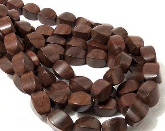 Magkuno Wood, Twist, Cushion, 10mm x 15mm, Large, Natural Wood Beads, Half Strand, 12-13pcs - ID 1886