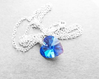 Get 15% OFF - Swarovski Blue Sapphire AB Heart Crystal Wire Wrapped Pendant Sterling Silver Plated Necklace - Happy Halloween SALE 2016