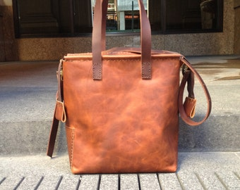 Cognac leather tote with zipper, Handmade leather zippered laptop pocket tote, Custom leather womens crossbody tote, Womens laptop bag