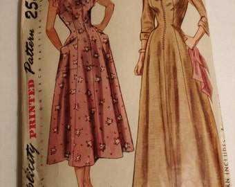 1949 Simplicity 2844 One-Piece Housecoat and House Dress Misses size 16 Bust 34