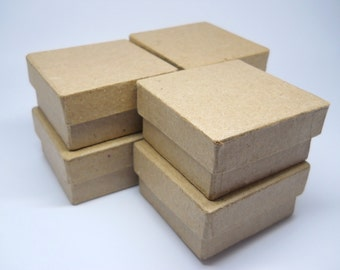 SQUARE BOX - Favor Box - Qty 6 - 2 inch - Paper Mache - Kraft Box - Wedding Favor