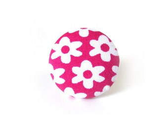 Large pink ring - big button ring - flower fabric ring white bright happy cute magenta adjustable