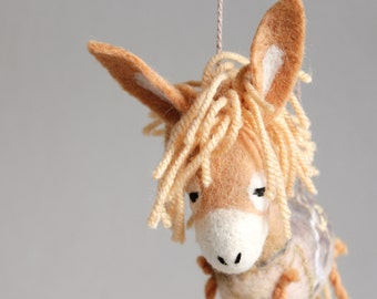 Nina - Honey Felt Donkey. Art Toy. Felted Toys, Marionette, Felt Toy, Stuffed Toy, Puppet. caramel cream gold yellow honey. MADE TO ORDER.