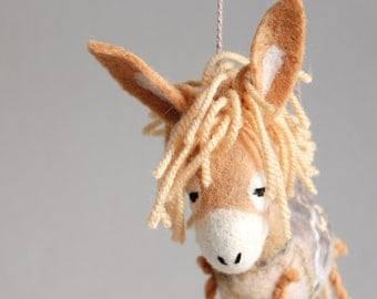 Honey Felt Donkey - Nina. Art Toy. Felted Toys gift for kids Marionette plush donkey nursery decor Felt Toy, Soft Stuffed Toy. caramel