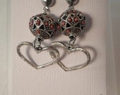 Vintage / MOROCCAN HEART EARRINGS / Pierced / Coral / Antiqued Silver / Tribal / African / Ethnic / Artisan / Organic / Exotic / Accessories