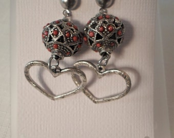 BOHO HEART EARRINGS / Pierced / Coral / Antiqued Silver / Moroccan / Tribal / African / Ethnic / Artisan / Organic / Exotic / Accessories