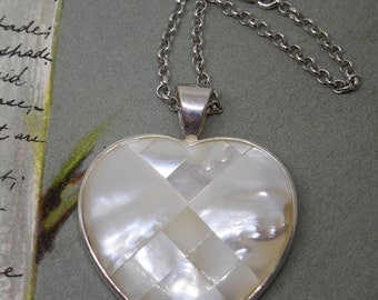 Sterling Silver & Mother of Pearl Heart Pendant Necklace on Sterling Chain