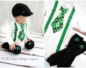 St Patrick's Baby Boy Tie and Suspenders Green Argyle Tie Onesie Bodysuit & Shamrock Clover Leg Warmers. LuckyTie Kiss Me Irish Proud Clover