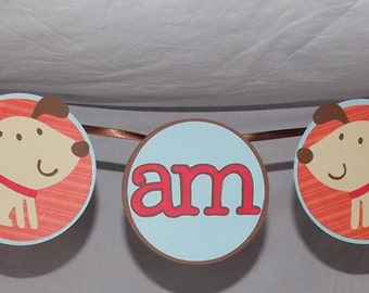 "Puppy Dog ""I am 1"" High Chair Banner READY To SHiP First Birthday  Puppy Banner Birthday Banner Puppy  Pawty  Red Blue and Brown"