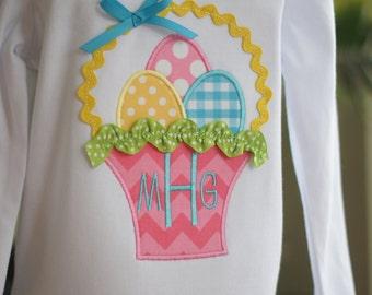Easter Basket Monogram Toddler Tee Shirt - Short or Long Sleeves