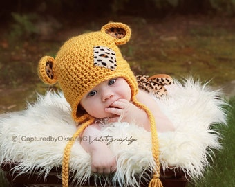 Baby Hat, Baby Boy Leopard Hat, Baby Girl Leopard Hat, Baby Leopard Hat, Sungold Hat, Leopard Ears. Newborn Photo Props. Baby Gift.
