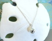 Sterling silver dot necklace, Christmas sterling silver round bead necklace, New Years Party Silver Dot Necklace