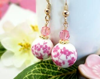 Ceramic pink cherry blossom Japanese gold earrings, cottage chic chic pink sakura earrings, Mothers Day pink floral ceramic gold earrings