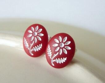 Flower Earrings, Stud Earrings, Red and White, Vintage Glass, Red Studs, Post Earrings, Gift for Her, UK Earrings