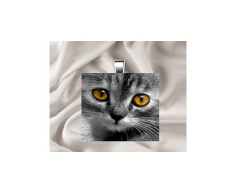 Scrabble Tile Pendant Necklace Cat
