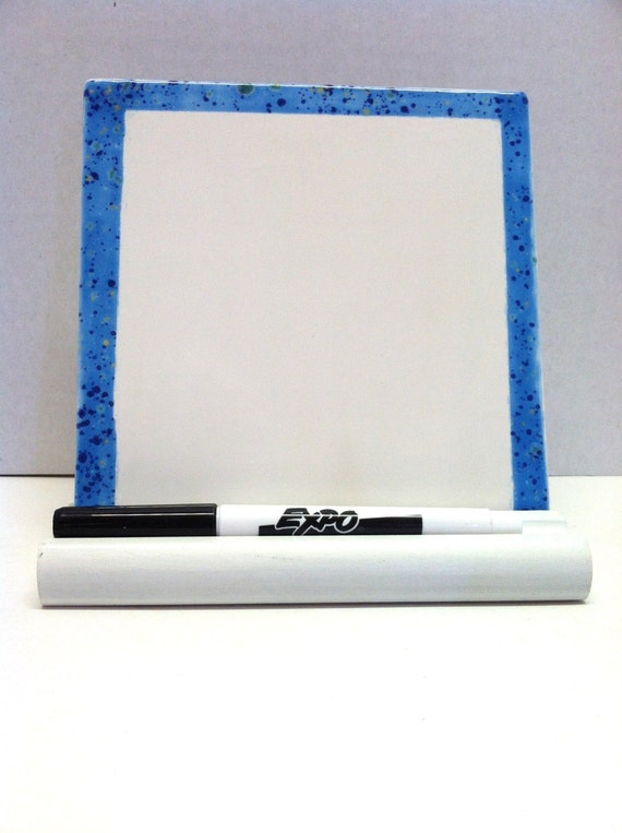 Dry Erase Message Board Ceramic Tile - Blue Border -  with Wooden Stand and Marker