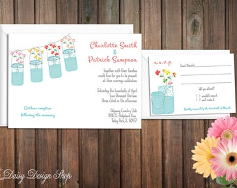 Wedding Invitation - Mason Jars with Colorful Wildflowers - Rustic Chic - Invitation and RSVP Card with Envelopes
