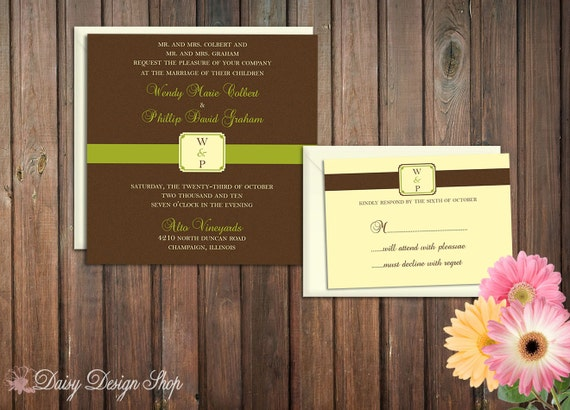 Wedding Invitation - Wine Label Inspired - Invitation and RSVP Card with Envelopes