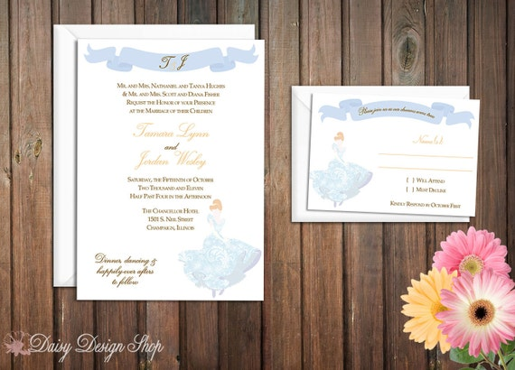Wedding Invitation - Princess Cinderella Silhouette in Damask Gown - Invitation and RSVP Card with Envelopes