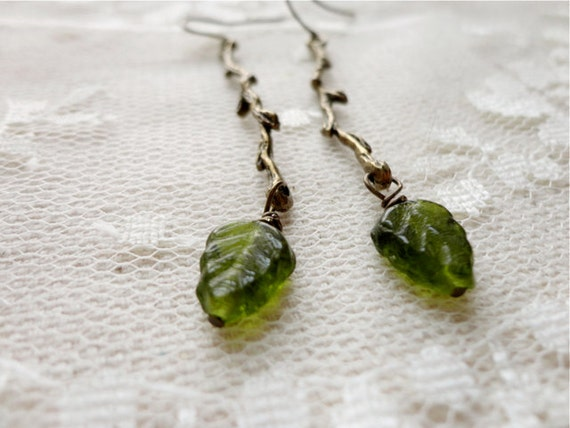 Bronze twig / branch and leaf woodland earrings, twig jewelry Branching Out