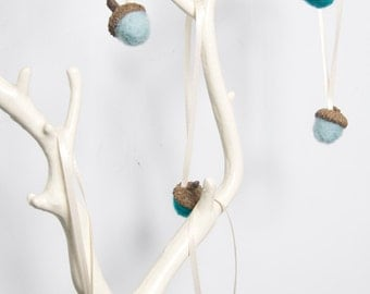 Small Needle Felted Acorn Ornaments in Teals - Set of 6