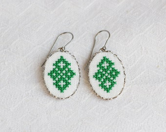Dangle earrings - textile earrings - Ukrainian cross stitch embroidery - e001green