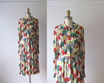 SALE vintage 1940s dress / 40s dress / Autumn Leaves