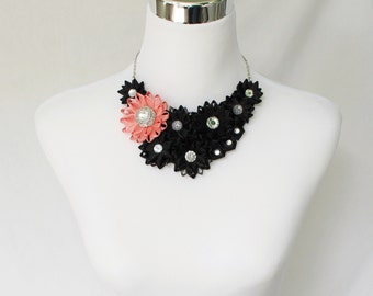 Coral and Black Necklace, Black and Coral Necklace, Unique Black Necklaces, Black Bib Necklace, Black Statement Necklace, Black Jewelry