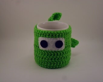 Ninja Mug Cozy & Coaster SPRING GREEN Bright Light Grass Leaf