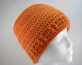 Kylie Hat in Carrot Celosia Orange - Beanie Beenie Cloche Cap  - Ready to Ship - FREE US Shipping