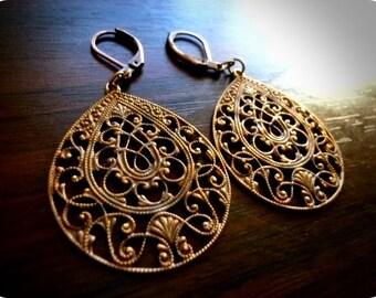 MAJESTIC-Contemporary Solid Brass Ornate Exotic Filigree Teardrop Earrings