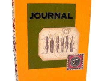 Victorian Journal with Pen Nibs illustration, Orange Kiss Stitch, lined Notebook