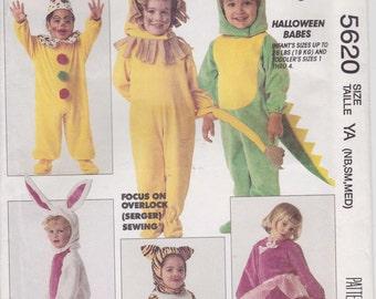 Lion Bunny Clown Cat Mouse Costume Pattern Size Newborn Small Medium Uncut 1991  McCalls 5620