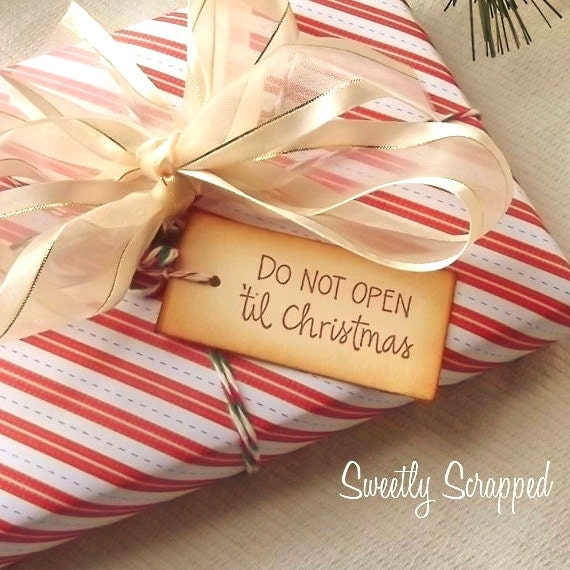 Do Not Open 'Til Christmas Gift Tags, Peppermint Red and White Twine