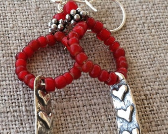 Dangle Earrings- Sterling Silver Hearts Charm and Red White Heart Trade Beads Earrings
