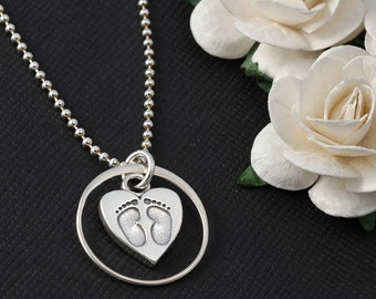 Eternity circle with baby feet in heart - angel baby - Eternal love - infinity necklace -   sterling silver