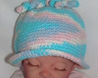 Pink and Aqua Baby Hat, Aqua Baby Hat, Baby Hat, Pastel Baby Hat, Girls Aqua Hat, Girls Aqua & Pink Hat, Girls Hat, Aqua Baby Hat