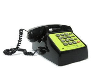 Vintage Office Phone upcycled push button telephone Chartreuse