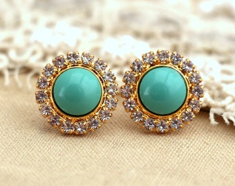 Turquoise gold crystal stud earrings Swarovski Crystal earring bridesmaid jewelry Gift for woman thick Gold plated rhinestone earrings