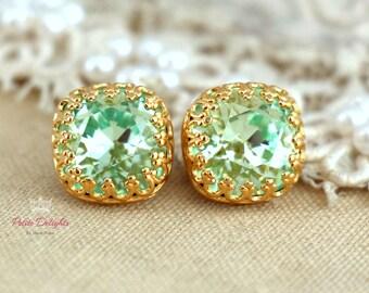 Gold Mint Studs, Mint green sea foam Crystal stud vintage earring - 14k Gold plated  Silver  post earrings real swarovski rhinestones .