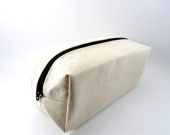 Plain Cream Canvas Makeup Bag, Gadget Case, Under 15, Pencil Case, Medium, Zippered, Cosmetic Case, For Her