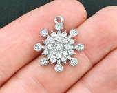 2 Snowflake Charms Antique Silver Tone with 25 Rhinestones Just Stunning - XC88