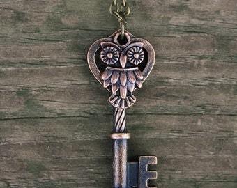 Chocolate Copper Bronze Owl Key Necklace