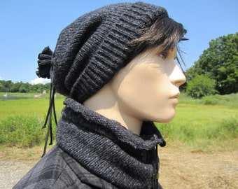 Grunge Beanie Men's Beanie Hats, Thick Warm Winter Wool Slouchy Beanie Hat Gray Tams Drawstring Tie Back Snood A1351/A1351XX