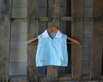 Vintage Blue & White Vest