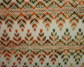Huck Weaving Throw, Blanket or Afghan - Swedish - Vintage - 52 X 60 Inches - Orange and Browns - F