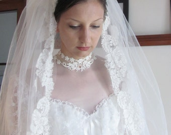 Vintage Mantilla Style Veil with Blusher / Tulle, Lace and Pearl Veil / The December Bride Veil